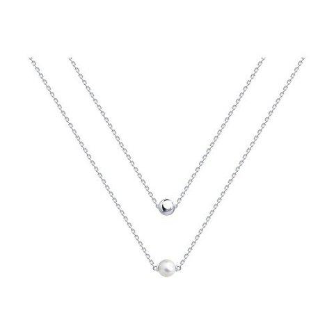 94070499 - Колье двухрядное из серебра с жемчугом Swarovski