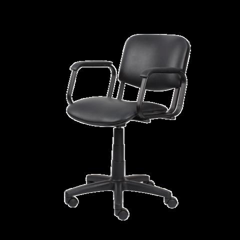 Парикмахерское кресло Контакт цвет серебро пневматика черная, пятилучье черное пластик