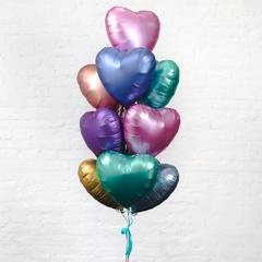 Фольгированные шары сердца матовые без рисунка ассорти