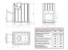 Топочный агрегат Калита  (Дверка - чугунная, с панорамным стеклом)