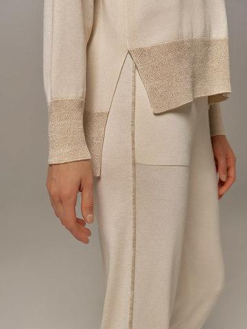 Женские брюки белого цвета из шелка и кашемира - фото 3
