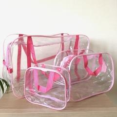 Прозрачная сумка в роддом с 2 косметичками, розовая, вид 3