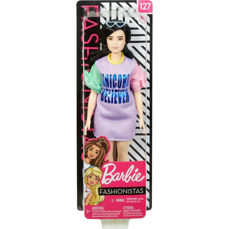Кукла Barbie Игра с модой Брюнетка в платье с принтом FXL60