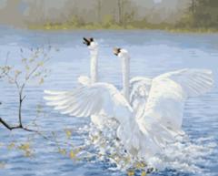 Картина раскраска по номерам 50x65 Игры лебедей