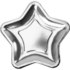 Тарелка фольгированная, Звезда серебро, 23 см, 6 шт, 1 уп.