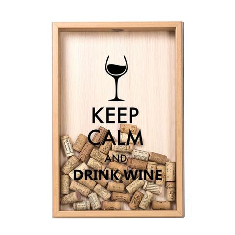 Копилка для винных пробок Keep calm, Бук