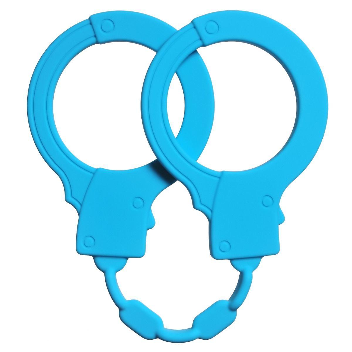 Голубые силиконовые наручники Stretchy Cuffs Turquoise