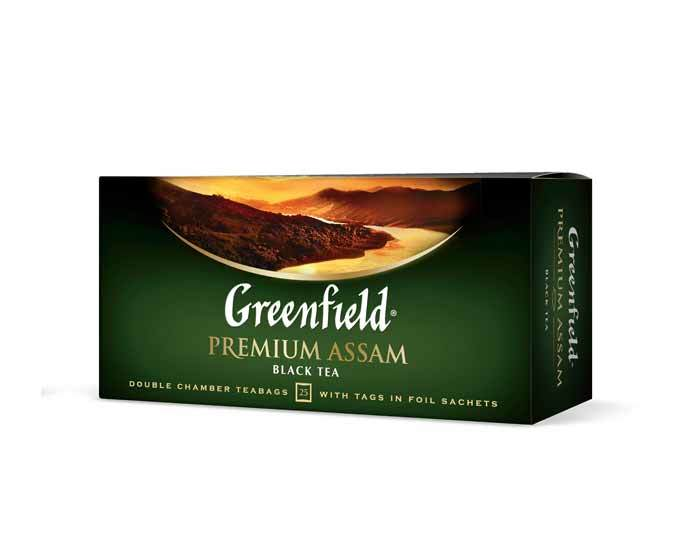 Чай черный в пакетиках из фольги Greenfield Premium Assam, 25 пак/уп