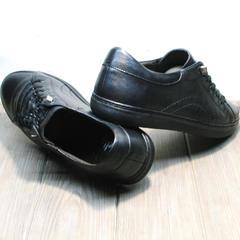 Чёрные кроссовки натуральная кожа мужские осенние Novelty 5235 Black