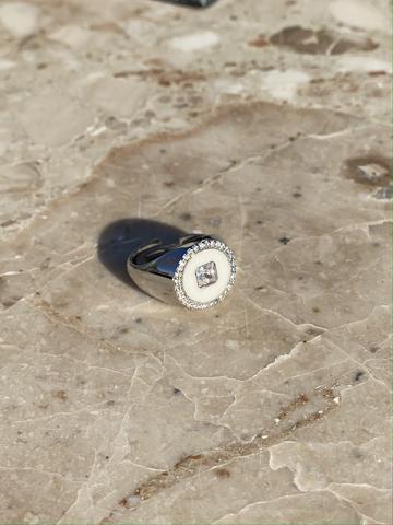 Кольцо Сайн белое, серебро