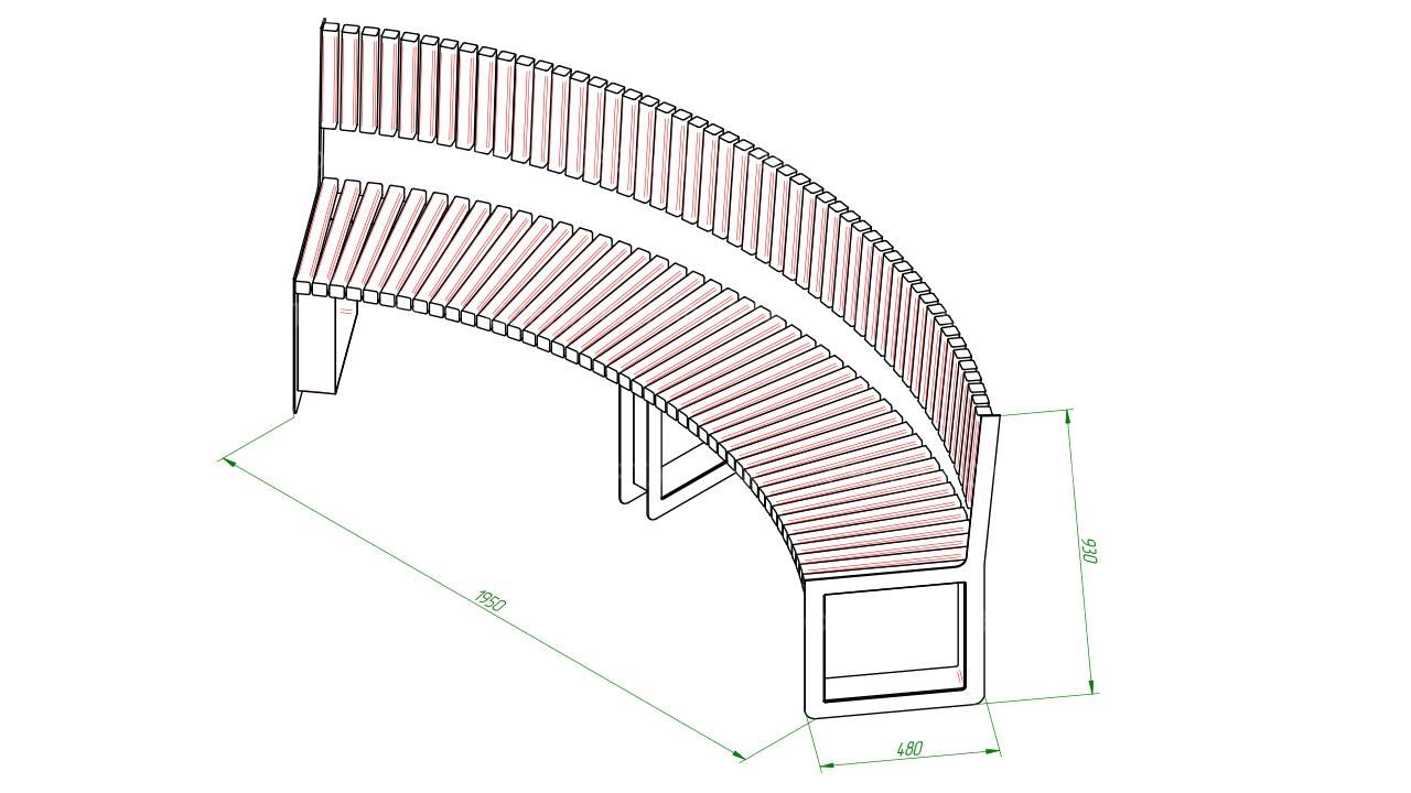 Полукруглая скамейка SCAM0051