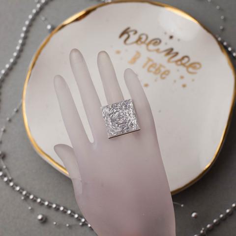 Кольцо квадрат серебро 2,5см