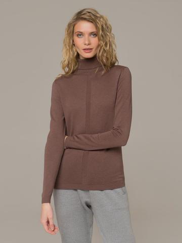 Женская водолазка коричневого цвета из шерсти и шелка - фото 3