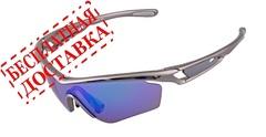 Очки солнцезащитные XQ505, (серый металлик / синие revo) +2 доп. линзы