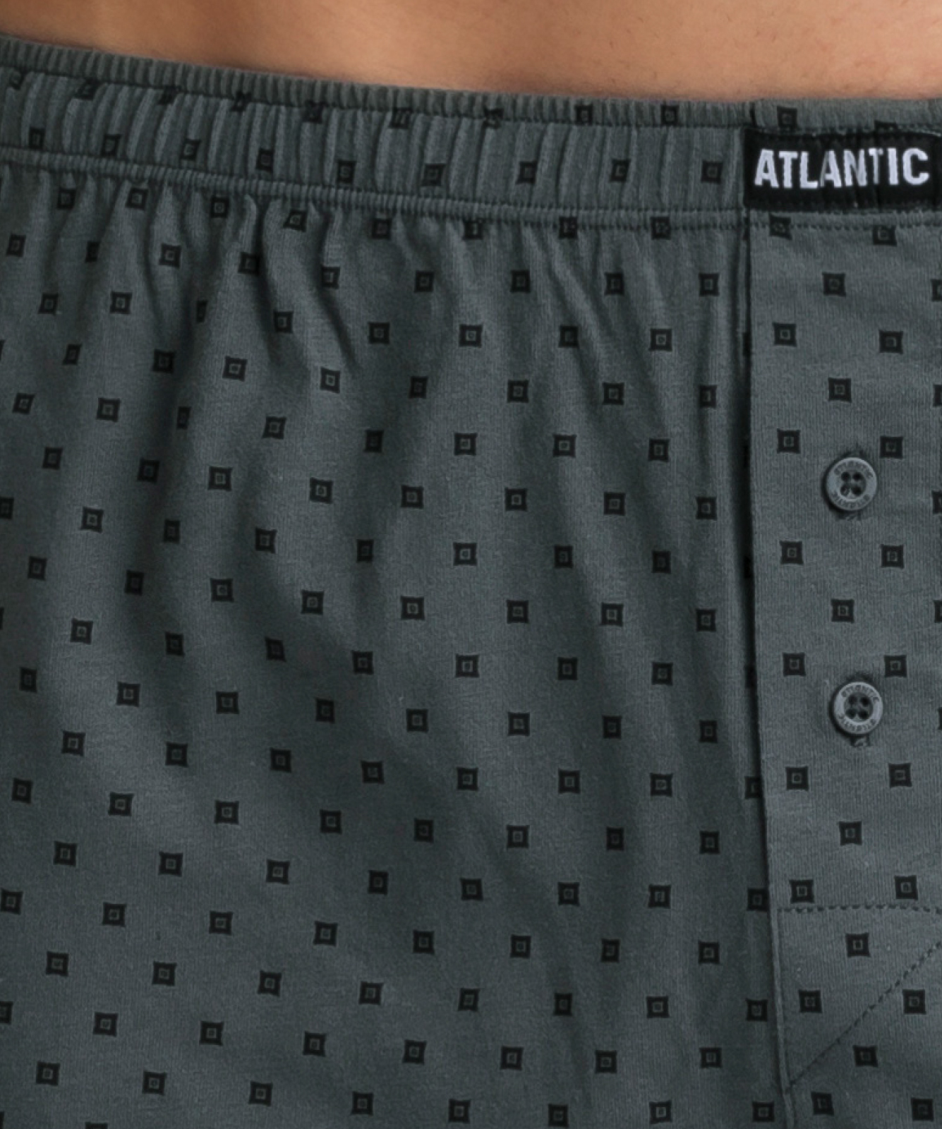 Мужские трусы боксеры Atlantic, набор из 2 шт., хлопок, черные + хаки, 2MBX-019