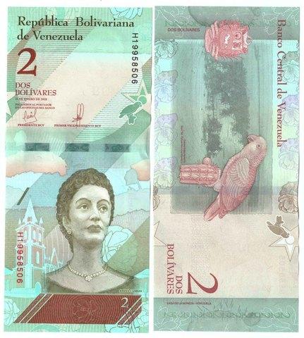 Банкнота 2 боливара 2018 год, Венесуэла. UNC