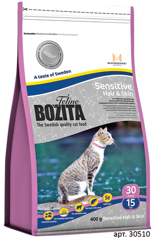 30510 BOZITA Funktion Sensitive Hair&Skin сух.корм д/кошек с чувствительной кожей и шерстью 400гр*5 НОВИНКА