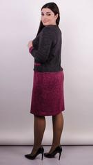 Ріка. Трикотажна сукня великих розмірів. Бордо.