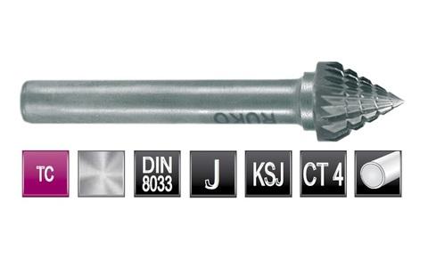 Бор-фреза твердосплавная J(KSJ) 60° 12,0х11x6x60мм HM Ruko 116225 (В)