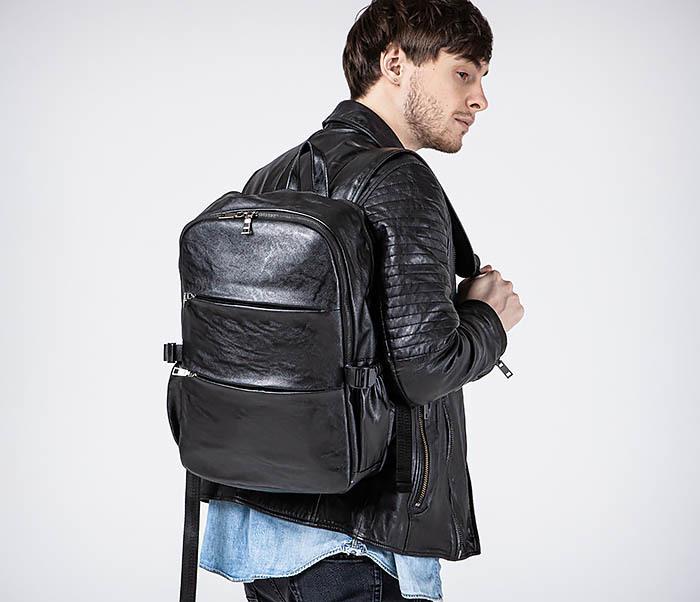 BAG527-1 Кожаный рюкзак с несколькими отделениями фото 03