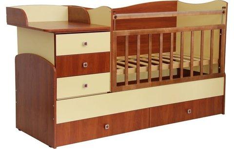 Кровать детская Фея 1400 орех-лимонный