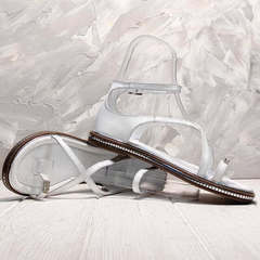 Женские сандали с тонкими ремешками Evromoda 454-402 White.