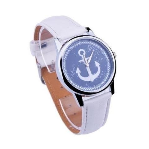 Купить Часы с серебряным якорем (белый) в Магазине тельняшек
