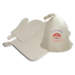 Набор из 3-х предметов (шапка Парюсь по-царски, рукавица, коврик), войлок 100%