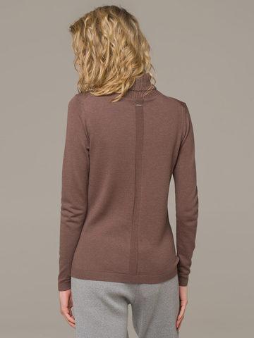 Женская водолазка коричневого цвета из шерсти и шелка - фото 2