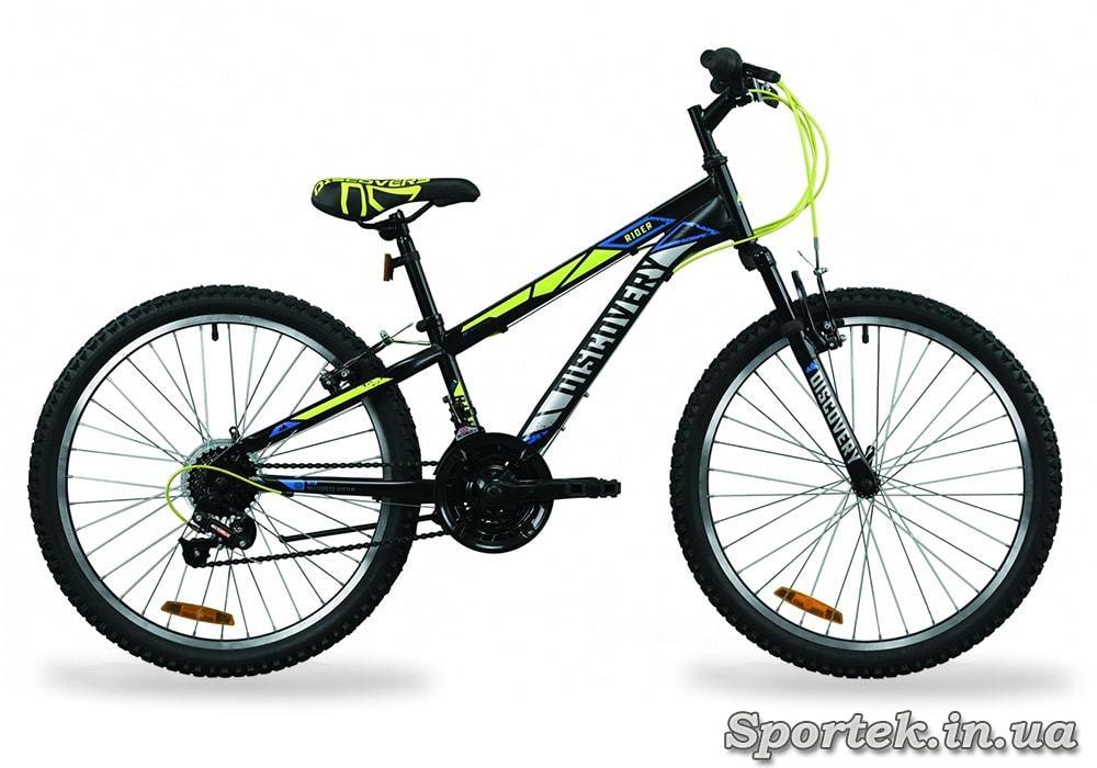 Горный подростковый велосипед Discovery Rider AM Vb 2020 - черно-салатно-серый