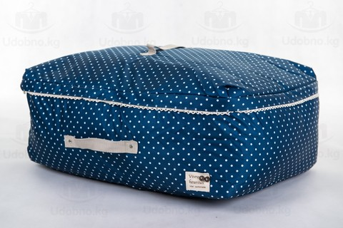 Мягкий средний широкий кофр для одежды, L, 56*42*24 см (темно-синий в горошек)