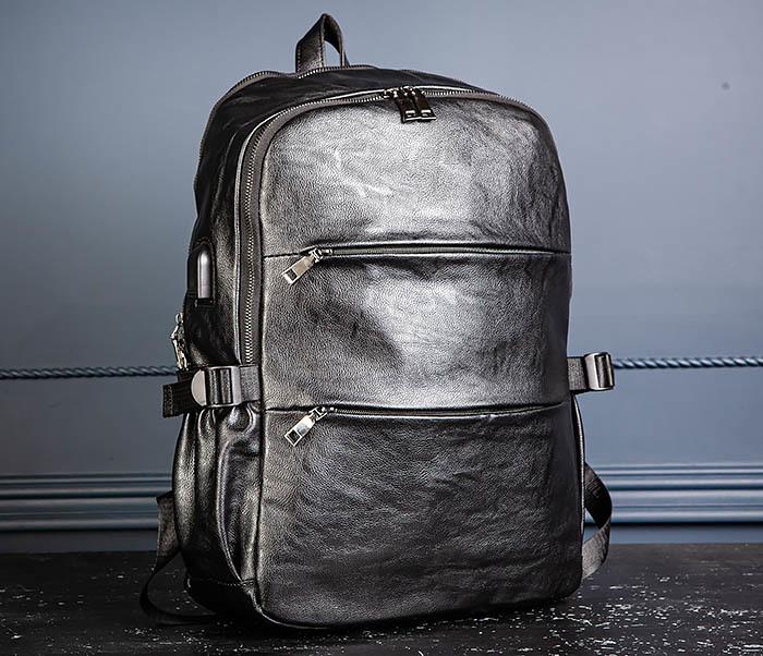BAG527-1 Кожаный рюкзак с несколькими отделениями фото 05