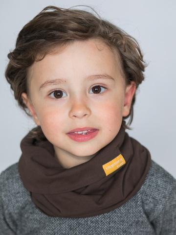 Детский снуд-горловинка из хлопка гладкий горький шоколад