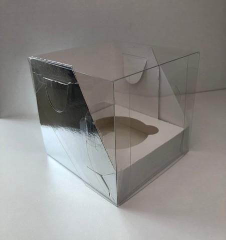 Коробка для 1 капкейка с прозрачной крышкой,10*10*10см (серебро)