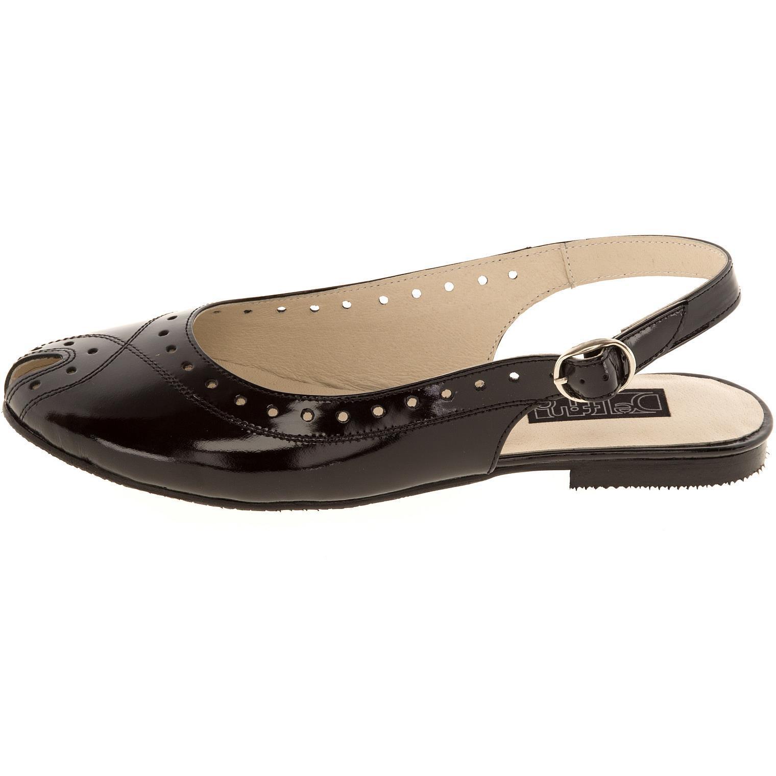 631198 туфли летние женские черный лак больших размеров марки Делфино