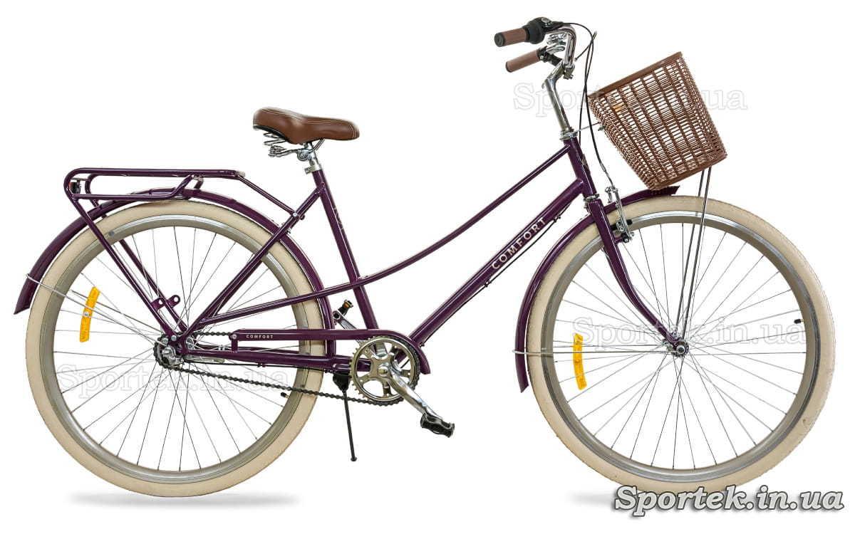 Міський жіночий велосипед Dorozhnik Comfort Female PH з планетарної втулкою фіолетовий