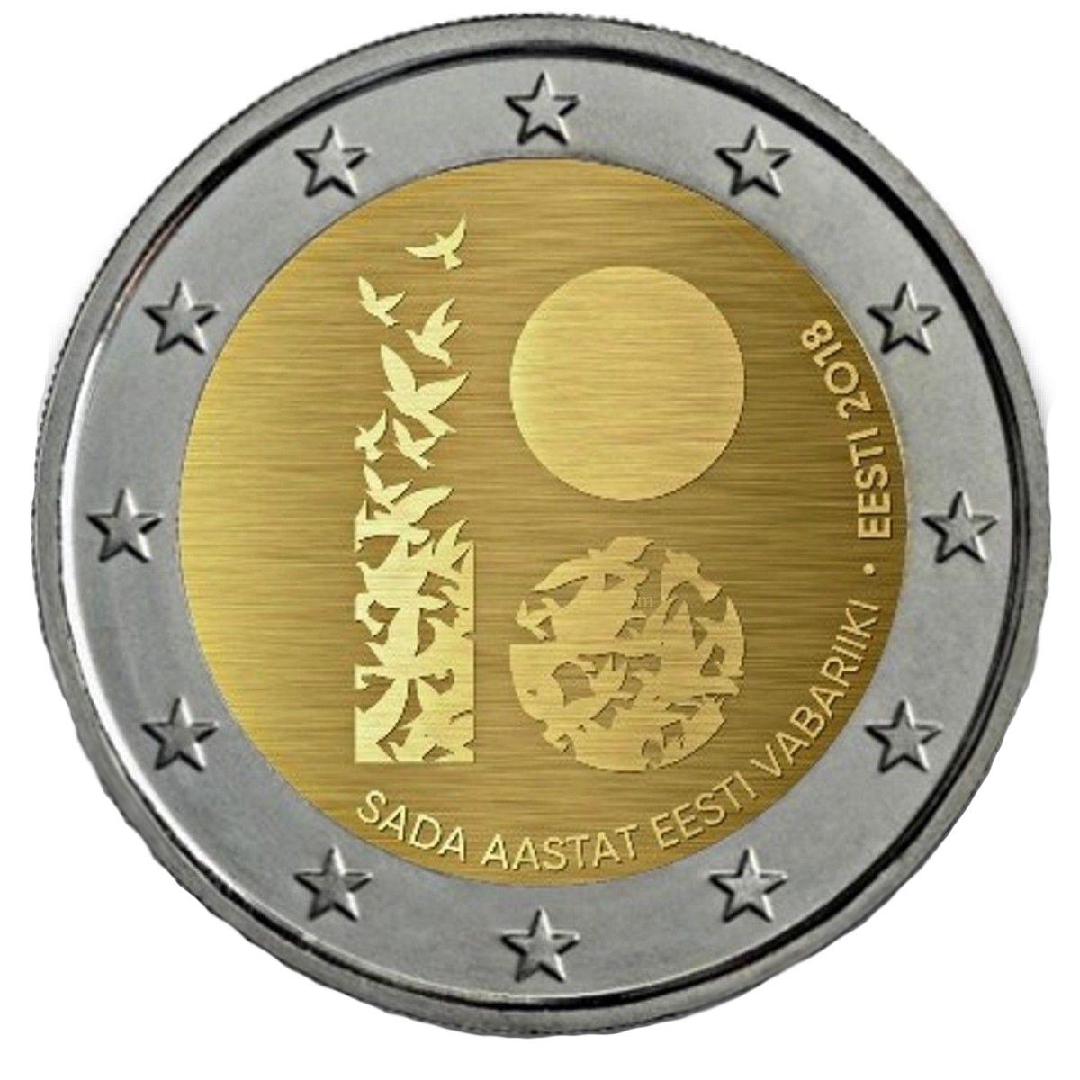 """2 евро 2018 Эстония - """"100 лет Эстонской Республике""""."""
