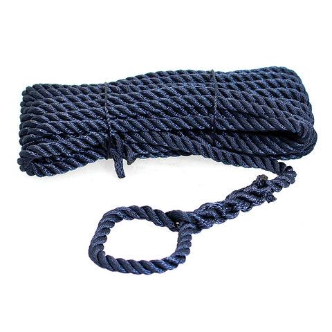 Трос швартовый 3х-прядный Ø12 мм/ 10 м, темно-синий