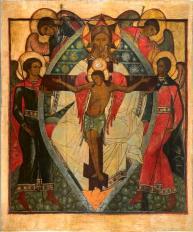 Икона Троица с Распятием Иисуса Христа на дереве на левкасе мастерская Иконный дом