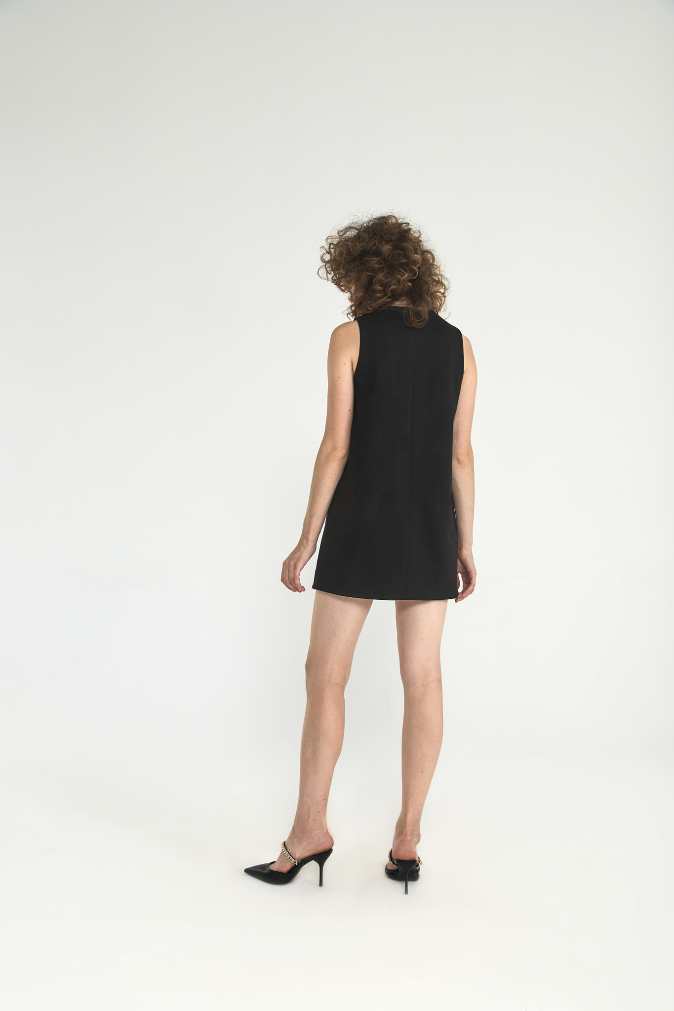 Платье-футляр мини из искусственной замши, угольно-черный