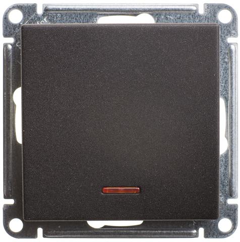 Выключатель одноклавишный с подсветкой, 16АХ. Цвет Чёрный бархат. Schneider Electric Wessen 59. VS116-153-6-86
