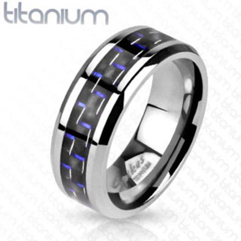 Титановое кольцо мужское 20,7 размер с чёрно-синим карбоном SPIKES R-TM-3633
