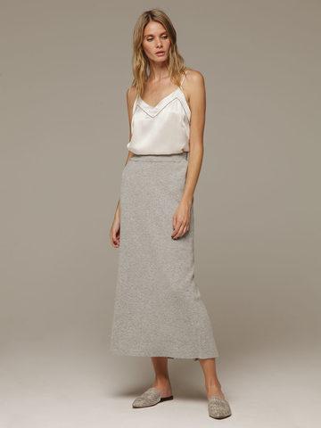 Женская серая юбка с разрезом из 100% кашемира - фото 1