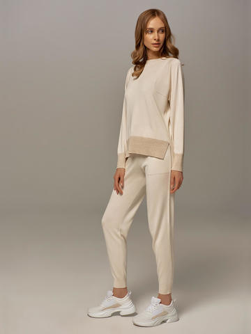 Женские брюки белого цвета из шелка и кашемира - фото 6