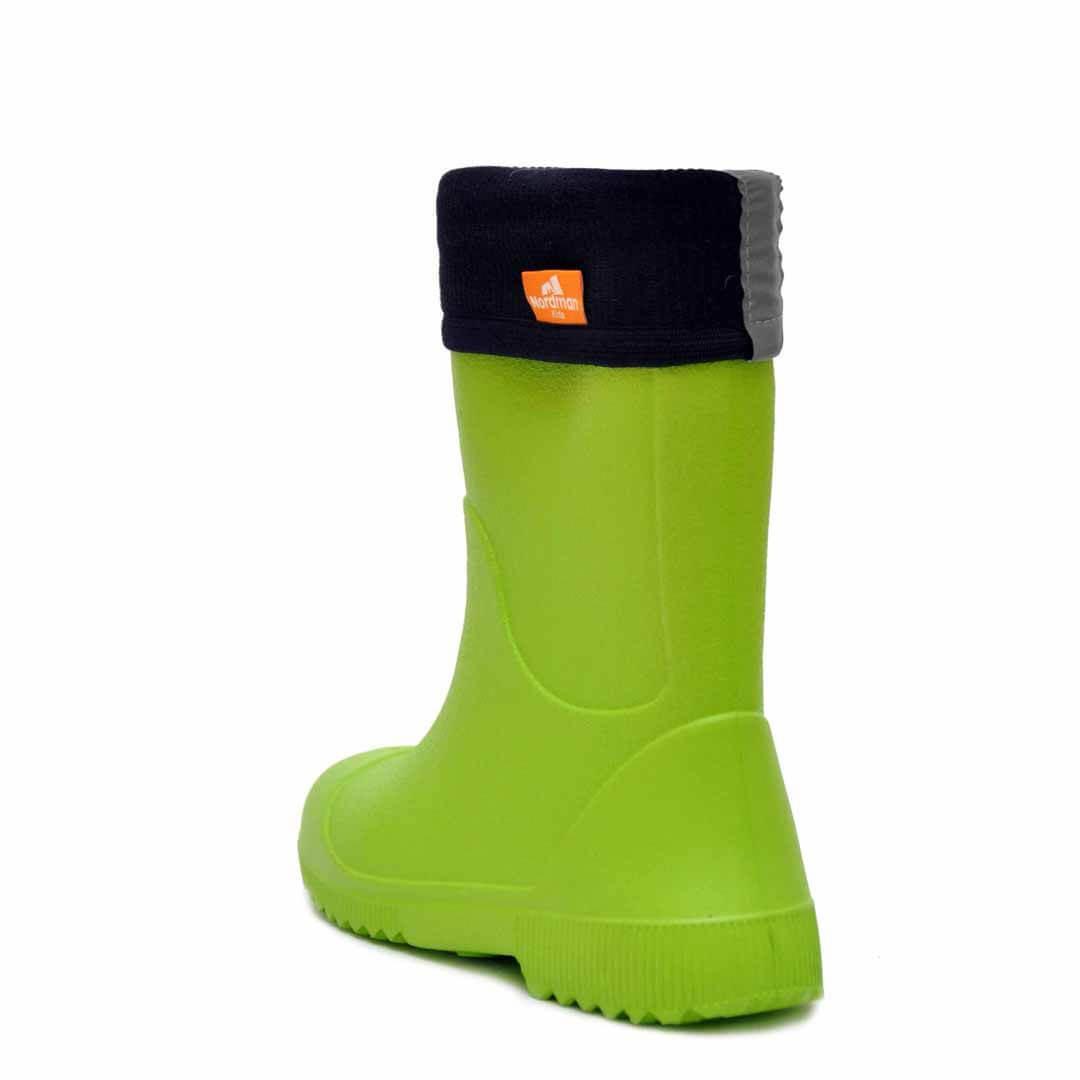 Детские резиновые сапоги из ЭВА Nordman Jet Лайм с флисовым утеплителем