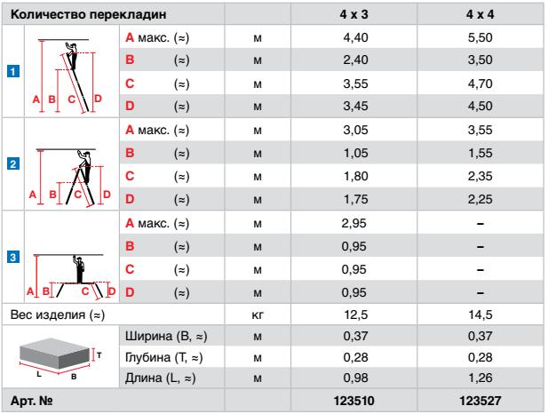 STABILO Шарнирная универсальная стремянка-трансформер, 4 х 3