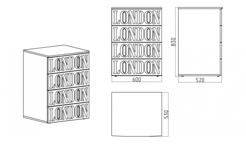 Красный комод Лондон схема с размерами