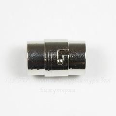Замок для шнура 10 мм магнитный из 2х частей, 18х12 мм (цвет - платина)