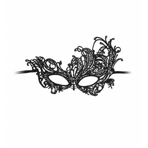 Shots Кружевная маска на глаза открытого типа Royal Black Lace Mask Ouch!