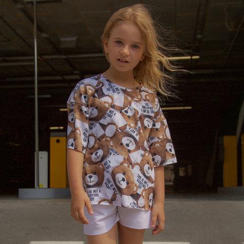 Дитячий літній костюм для дівчинки з шорт і футболки оверсайз з авторським принтом ведмедики